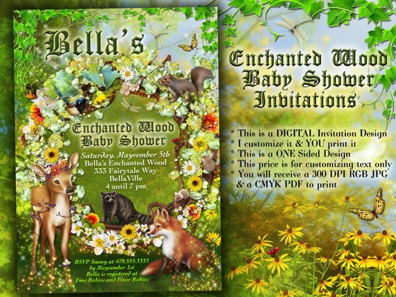 Enchanted Forest Themed Wedding Invitations: Enchanted Forest Shower Baby Shower Invitation Forest Theme