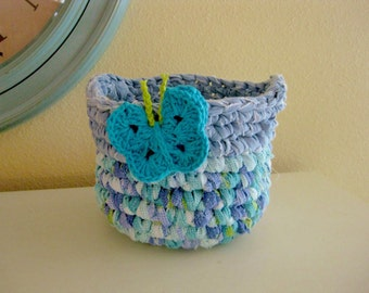 Crocheted Rag Basket Blue, Turquoise and White - Repurposed Rag Crochet - Crochet Cotton Basket - Crochet Basket with Handles