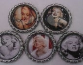 5 x Marilyn Monroe Flattened Silver Bottle Caps - Great for Jewellery, Cards, Keyrings