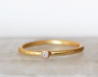 Tiny Diamond Ring - 2mm Diamond Ring - Small Diamond Gold Stacking Ring - Choose 14k OR 18k Gold  - Eco-Friendly Recycled Gold