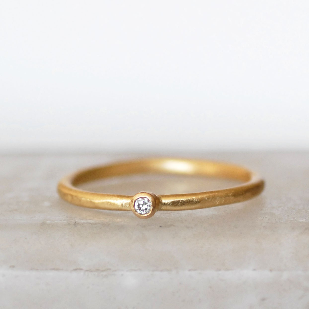 Tiny Diamond Ring 2mm Diamond Ring Small Diamond Gold
