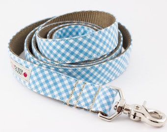 Pastel Blue Gingham Dog Leash