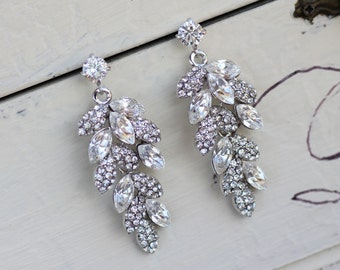 Art Deco Sapphire Rhinestone Earrings Navy Blue Crystal Leaf
