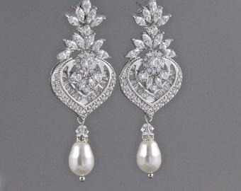 Crystal Chandelier Earrings, Bridal Earrings, Pearl Drop Earrings, Bridal Jewelry, Boucles d'oreille de Cristal, TAYLOR