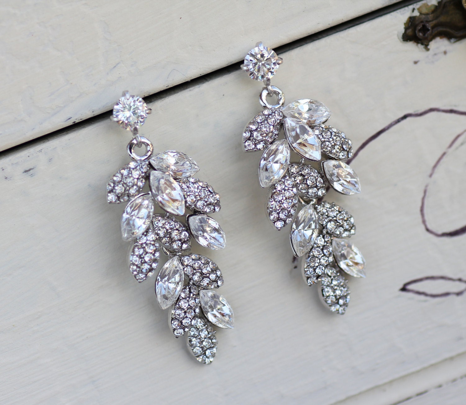 Crystal Leaf Bridal Earrings Bridal Chandelier