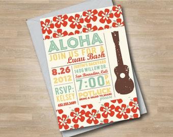 Luau Invitation/Hawaii Invitation/Ukulele/Summer/Graduation Party/Aloha/Luau Bash