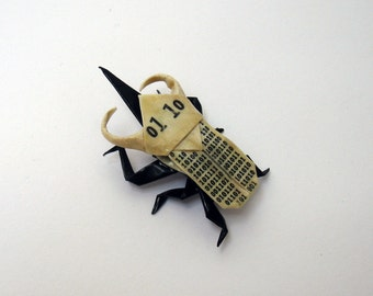 BINARY origami atlas beetle pin