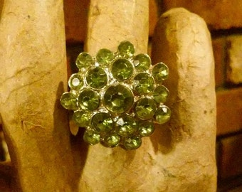 Peridot Crystal Stretch Ring