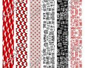 "Digital Collage Sheet, 1"" X 11"" Borders, Bead Making Strips, Digital Scrapbook, Instant Download, Printable Graphics, BS 2"
