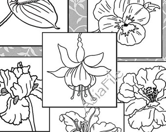 Coloring Pages for All Ages, Digital Art,  Instant Downloads, 12 Flowers, 3 Inch Squares, 2 Sheets, Colouring Book, Printable,  COLOR 4