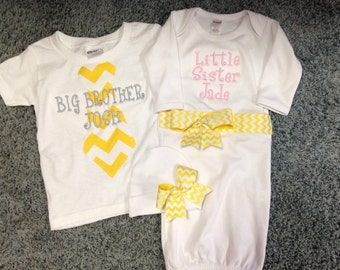 Yellow Chevron Big Brother and Little Sister Matching Set