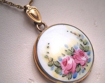 Antique Enameled Locket Victorian Art Deco Pendant 1920
