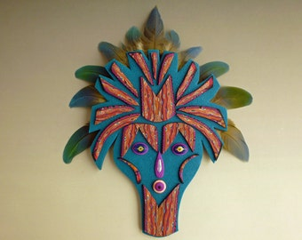 Surprise! Spirit Mask Wall Art in Teal Blue and Orange Polymer Clay with Parrot Feathers