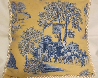 French Country Romantic Cottage Pillow Yellow Blue Toile Paris Garden Accent Decorator Throw Cushion