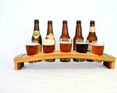 "BEER FLIGHT - ""Saraba"" - 5 Hole Beer Flight Sampler / Glass holder - 100% recycled"