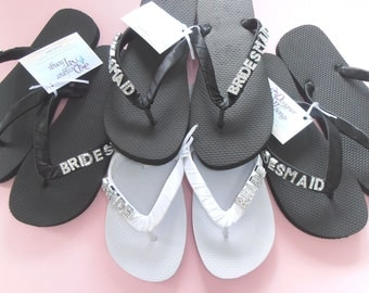 Bride and Bridesmaid Personalised Thongs / Flip Flops Set of 4 with satin straps and crystal letters