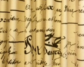 CUSTOM CURTAINS - One Pair of French Script / map drapery panels
