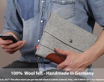 iPad 4, 3, 2 case, ipad sleeve, ipad cover, leather ipad case, 100% wool felt, vegetable tanned leather Merino IPS-GLB