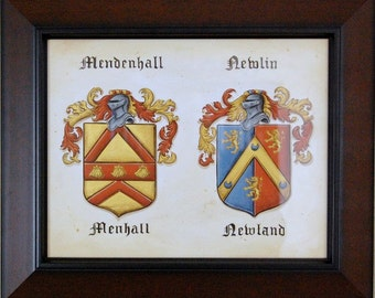 Wedding Crest - Double Family Crest Painting, Custom wedding gifts