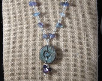 Blue Button Necklace