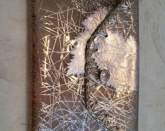 SALE Vintage Clear Vinyl Confetti Lucite Silver Leaves and Trim Envelope Case Snap Closure Mid Century 1950s