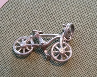 Vintage Sterling Silver Bike Bicycle Pendant Charm