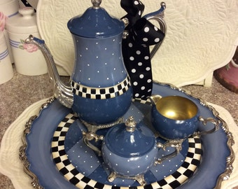 Silver Plated Tea Set/Custom Painted