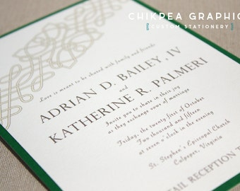 Irish Rose -- Celtic wedding invitation, Traditional, Irish, Cletic knot