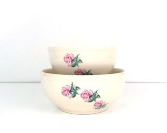 Ballerina Rose Pattern serving bowls, Thermocraft dinnerware, Pink romantic decor, Flowers