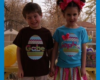 Easter Egg Personalized Shirt for Girl or Boy - Easter Handmade Clothing Children - You Choose Shirt Color