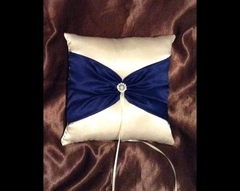 ring bearer pillow custom made white or ivory with navy blue satin