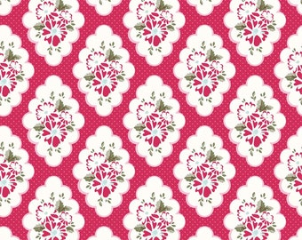 Wiltshire Daisy Fabric - Floral in Red by Carina Gardner Half Yard