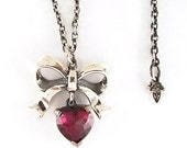 Sterling Silver Bow and Hanging Heart Cubic Zirconia Necklace