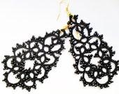 Tatted earrings with glass beads, black earrings, statement beaded chandelier earrings   tatted lace jewelry
