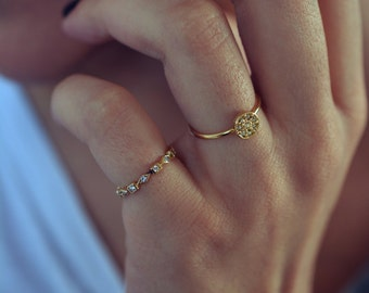 Crystal Ring - Gold Ring - Dainty Ring - Gold Plated Ring - Crystal Jewelry - Diamond Ring - Crystal Ring - Size 5.5 Ring