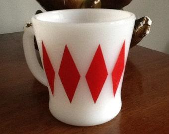 Vintage fireking red diamond pattern glass mug