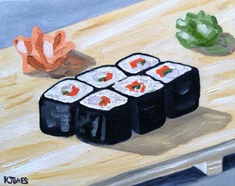 Sushi Rolls - Original Oil Painting - Japanese Food - Asian Cuisine - California Rolls with ginger and wasabi bamboo board restaurant art