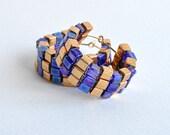 Gold with Dark Blue Miyuki Cube Woven Earrings, Hoop Beaded Earrings, Flat Square Pattern Earrings, Egyptian Earrings
