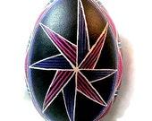 Ukrainian Egg, Pysanka, Goose egg, egg, black, purple, star, ornament, decoration