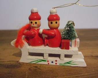 Christmas Elves on Sleigh Vintage Wooden Toy Ornament