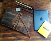 Driggs iPad mini case, handmade leather case, mini tablet case/cover, vintage brown, handmade leather bags, clutches, cases, covers by Aixa