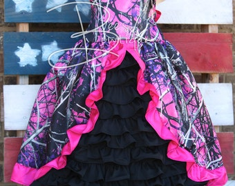 Girls custom boutique camo ruffle dress made with Muddy girl