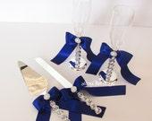Wedding Cake Serving Set and Champagne Toasting Flutes - Custom Made