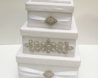 Wedding Card Box, Bling Card Box, Rhinestone Money Holder, Money Box - Custom Made