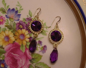 Amethyst Pendant Earrings on Gold Filled Wires
