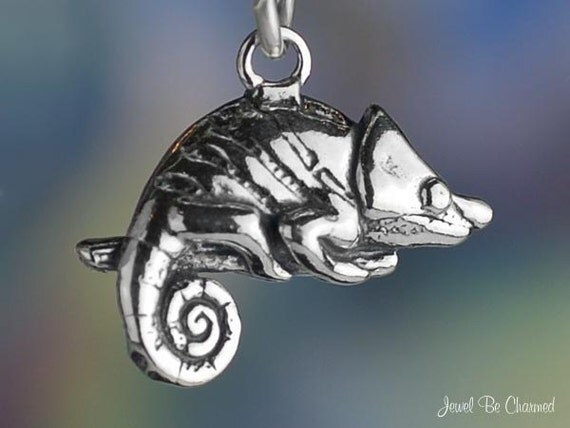 Chameleon Charm Sterling Silver Lizard Reptile Pet 3D Solid .925