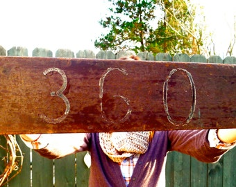 reclaimed wooden sign - old house number signage - oar shaped - rustic - weathered wood - shelf