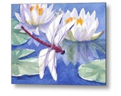 Dragonfly Art, Water Lilies Watercolor Print on Wood, Cottage Chic Decor, Waterlily Pond by Janet Zeh