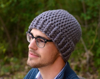Men's Slouchy Beanie Hat, Grey | Christmas Gifts