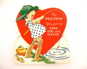 Vintage Valentines day card, girl fishing pole boots fish hook heart, embossed diecut, colorful red green blue yellow 1950s paper ephemera